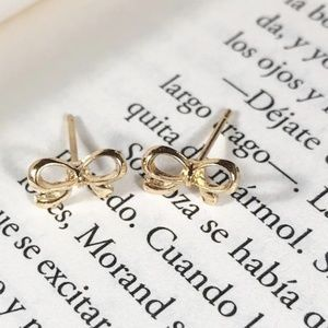 TINY GOLD BOW SISTER STUD EARRINGS